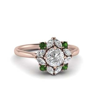 Rose Gold Emerald Halo Ring