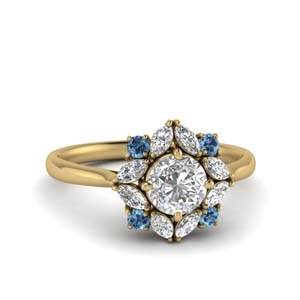 Art Deco Blue Topaz Ring