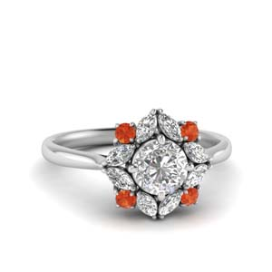 Orange Topaz Halo Diamond Ring