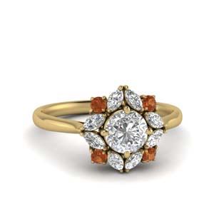 Art Deco Orange Sapphire Ring