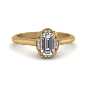 Petal Emerald Cut Halo Diamond Ring