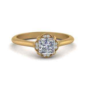 Princess Cut Flower Halo Diamond Ring