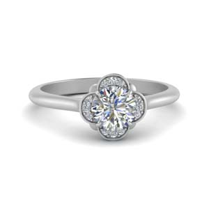 Flower Petal Round Halo Diamond Ring