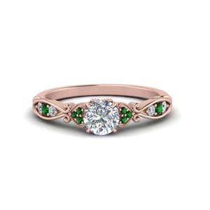 Emerald Antique Pave Ring