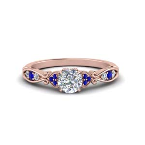 Sapphire Antique Pave Diamond Ring