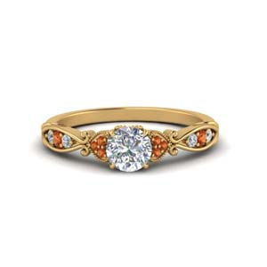 Yellow Gold Orange Sapphire Ring