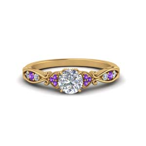 Purple Topaz Antique Diamond Ring