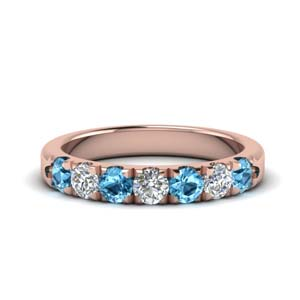 Rose Gold Topaz Wedding Band