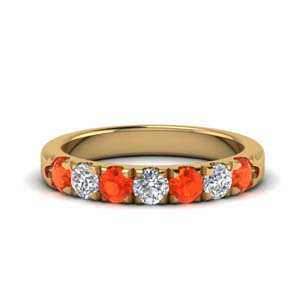0.75 Carat Orange Topaz Band