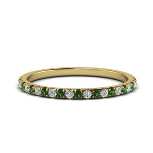 18k Gold Petite Band With Emerald