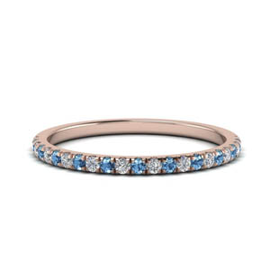 0.25 Ct. Diamond Band With Blue Topaz