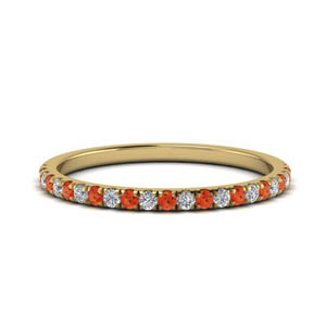Orange Topaz Half Eternity Band