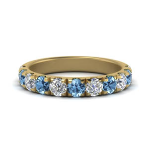 Blue Topaz Half Eternity Band 1 Ctw.