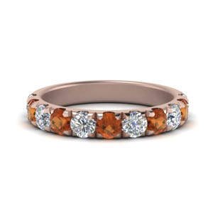 Womens Orange Sapphire Band 1 Ct.
