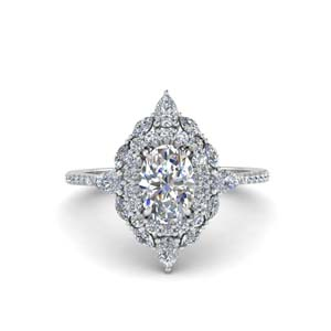 Oval Diamond Art Deco Halo Ring