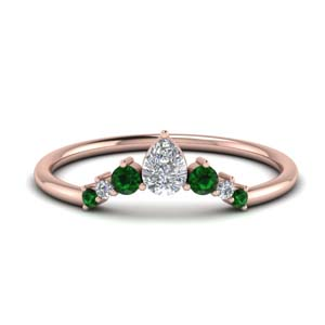 Curved Band With Emerald
