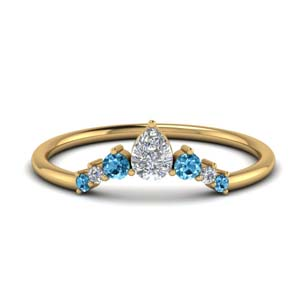 Curved Blue Topaz Wedding Band