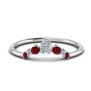 Pear Diamond Band With Ruby