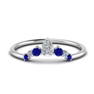 Curved Graduated Band With Sapphire