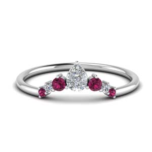 Pink Sapphire Graduated Wedding Band