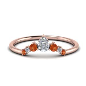 Orange Sapphire Curved Band
