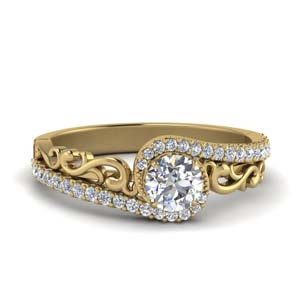 Filigree Bypass Diamond Ring