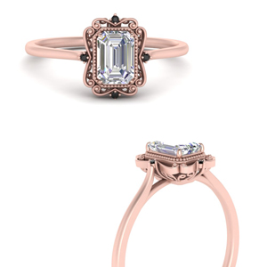 Filigree Halo Emerald Cut Engagement Ring