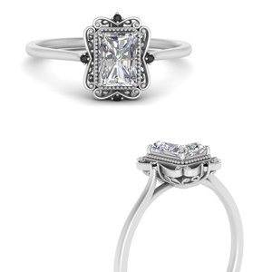 Platinum Radiant Cut Halo Rings