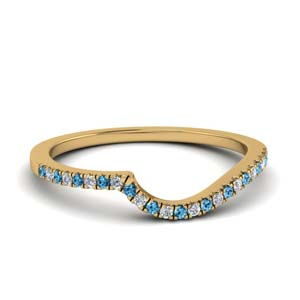 Blue Topaz Gold Wedding Band