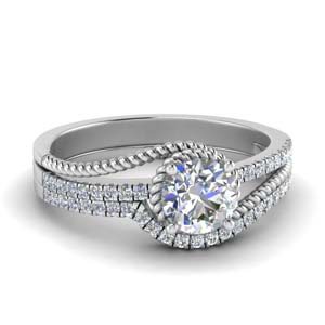 White Gold Rope Engagement Ring Set
