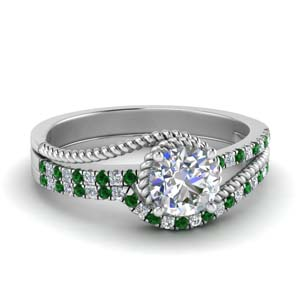 Emerald Bridal Set In White Gold