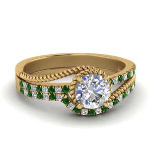 Rope Emerald Wedding Ring Set
