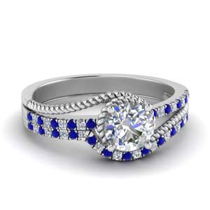 Split Wedding Set With Sapphire