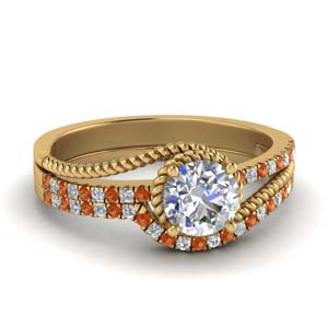 Orange Sapphire Shank Wedding Set
