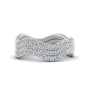 Waves Pave Eternity Rings