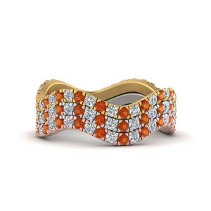 Orange Sapphire Stackable Rings
