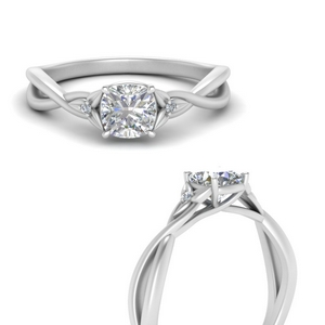 Twist Cushion Solitaire Ring