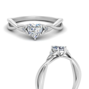 3 Stone Heart Engagement Rings