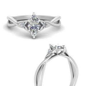 3 Stone Marquise Shaped Rings