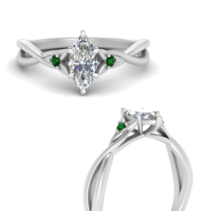 Double Shank Emerald Ring