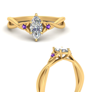 3 Stone Floral Engagement Ring
