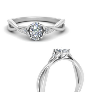 Oval Diamond 3 Stone Engagement  Ring
