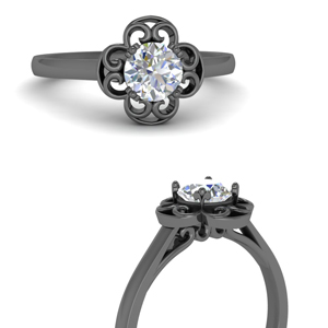 Unique Halo Black Gold Engagement Ring