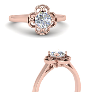 Floral Halo Solitaire Ring