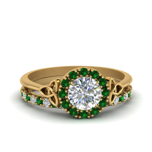 Irish Halo Wedding Set With Emerald