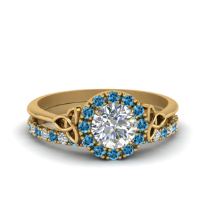 Irish Halo Blue Topaz Ring