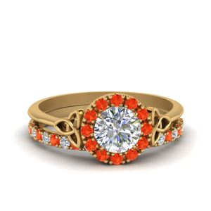 Celtic Orange Topaz Wedding Set