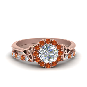 Bridal Set With Orange Sapphire