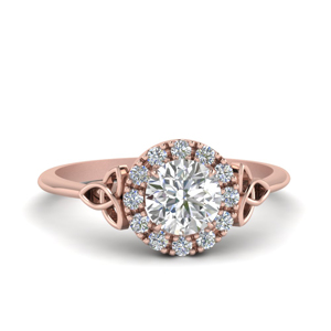 Twisted Shank Diamond Halo Ring