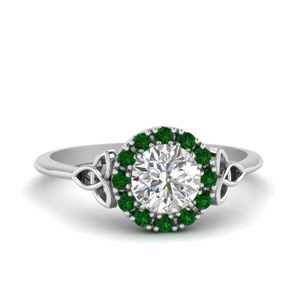 Round Halo Ring With Emerald